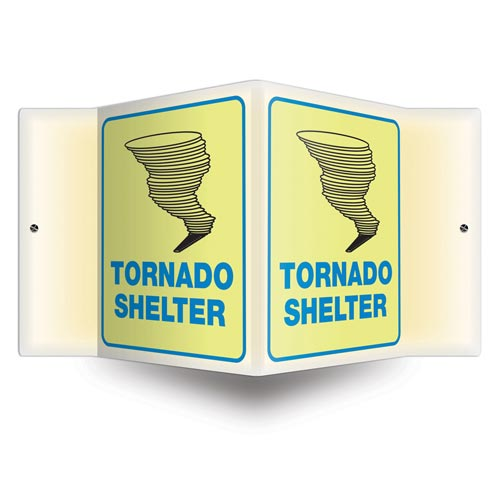 Tornado Shelter Sign - 3D Projection, Glow In The Dark (010215)