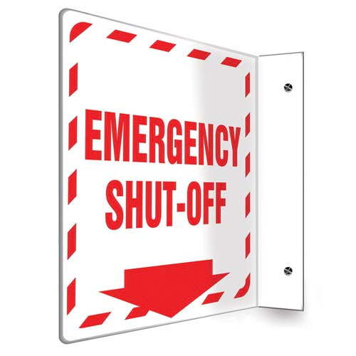 Emergency Shut-Off - 90D Projection Sign (010219)