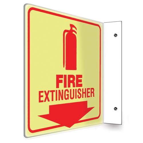 Fire Extinguisher - Glow-In-The-Dark Projection Sign (010220)