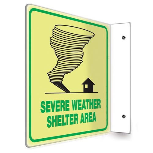 Severe Weather Shelter Sign - Projection, Glow In The Dark (010221)