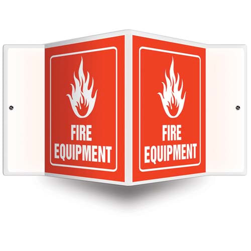 Fire Equipment Sign with Icon, Down Arrow - 3D Projection (010231)
