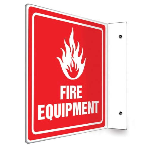 Fire Equipment Sign with Icon, Down Arrow - Projection (010242)