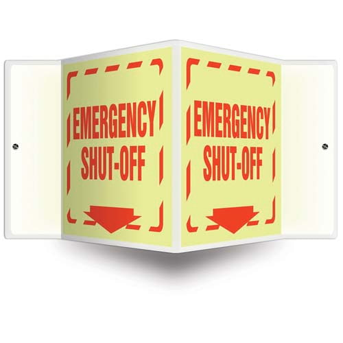Emergency Shut-Off Sign - 3D Projection, Glow In The Dark (010248)