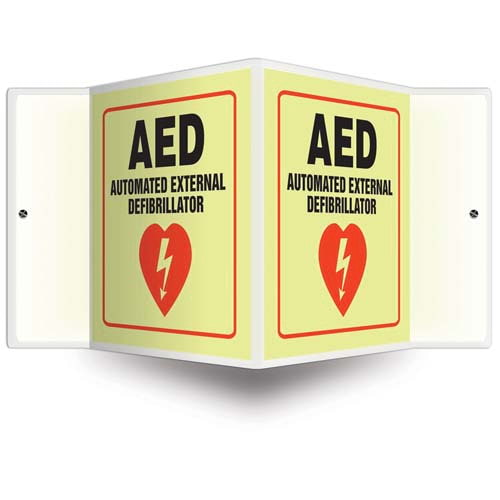AED - Glow-In-The-Dark Projection Sign (010249)