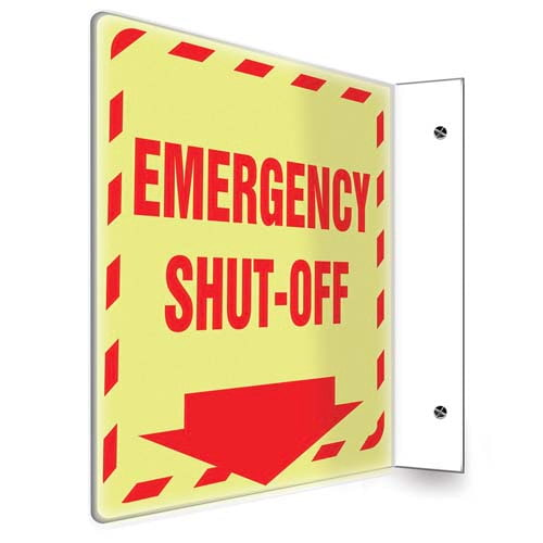 Emergency Shut Off - Glow-In-The-Dark Projection Sign (010251)