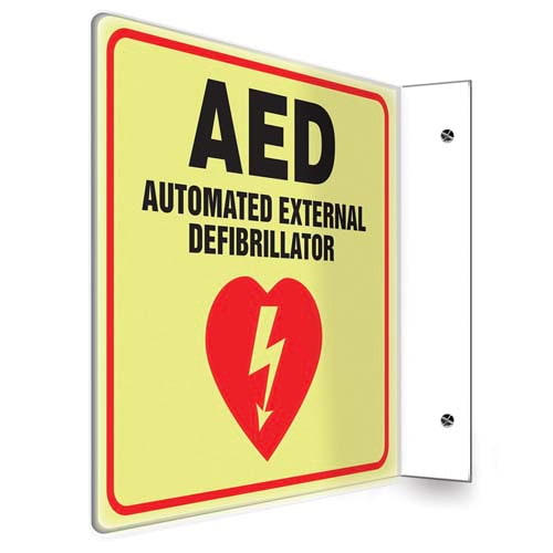 AED Sign - Projection, Glow In The Dark (010252)