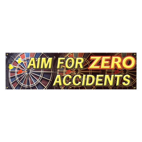 Aim For Zero Accidents Safety Banner (010255)