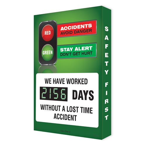 Accidents: Avoid Danger, Stay Alert: Don't Get Hurt - Digi-Day Electronic Scoreboard (010264)