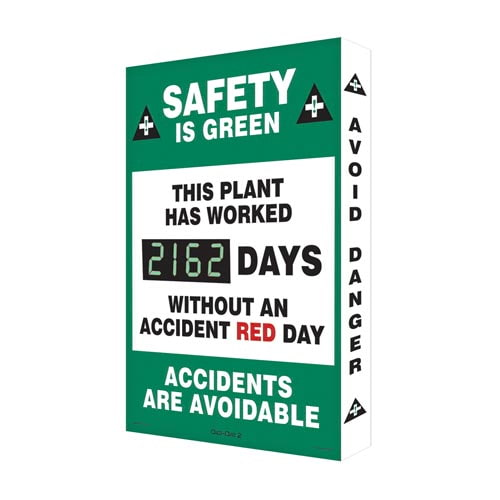 Safety Is Green, This Plant Has Worked - Digi-Day Electronic Scoreboard (010271)