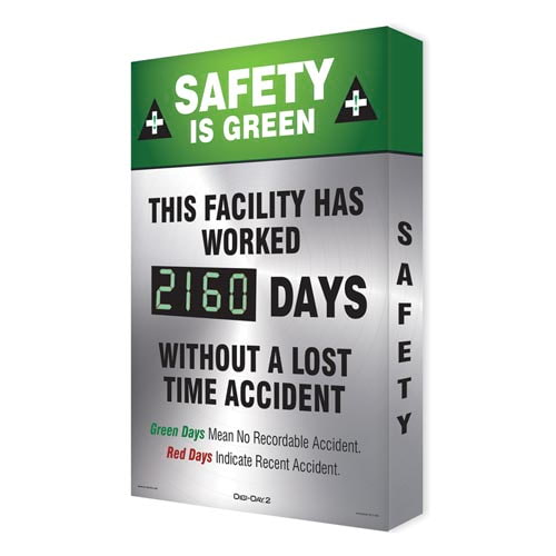 Safety Is Green, This Facility Has Worked - Digi-Day Electronic Scoreboard (010272)