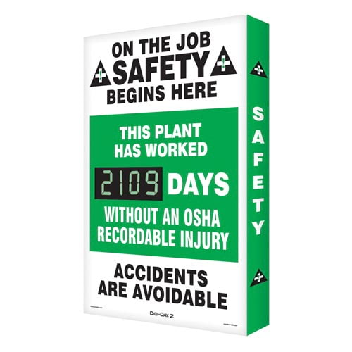 OSHA Recordable Injury - Digi-Day Electronic Scoreboard (010273)
