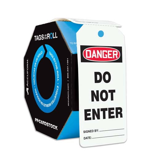 Danger: Do Not Enter - OSHA Safety Tag: Tags By-The-Roll (010324)