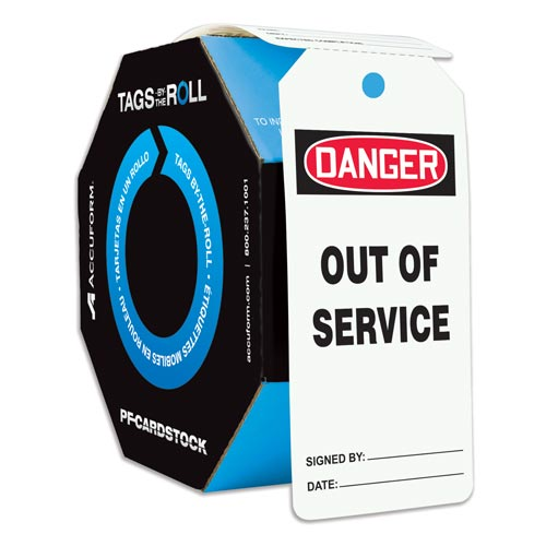 Danger: Out Of Service - OSHA Safety Tag: Tags By-The-Roll (010290)
