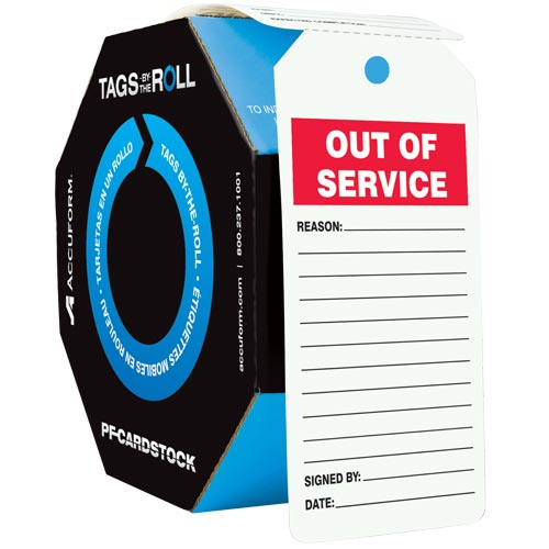 Out Of Service - Safety Tag: Tags By-The-Roll (010296)