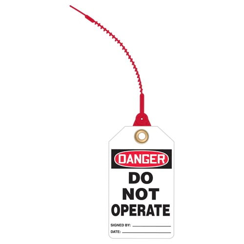 Danger: Do Not Operate - OSHA Safety Tag: Loop 'n Lock Tie Tags (010297)
