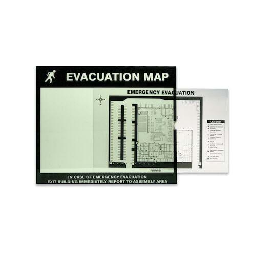 Glow-In-The-Dark Emergency Evacuation Map Holder (010384)