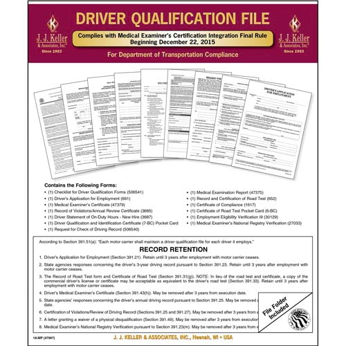 Driver Qualification File Packet (Two-Copy Forms) - Retail Packaging (011642)