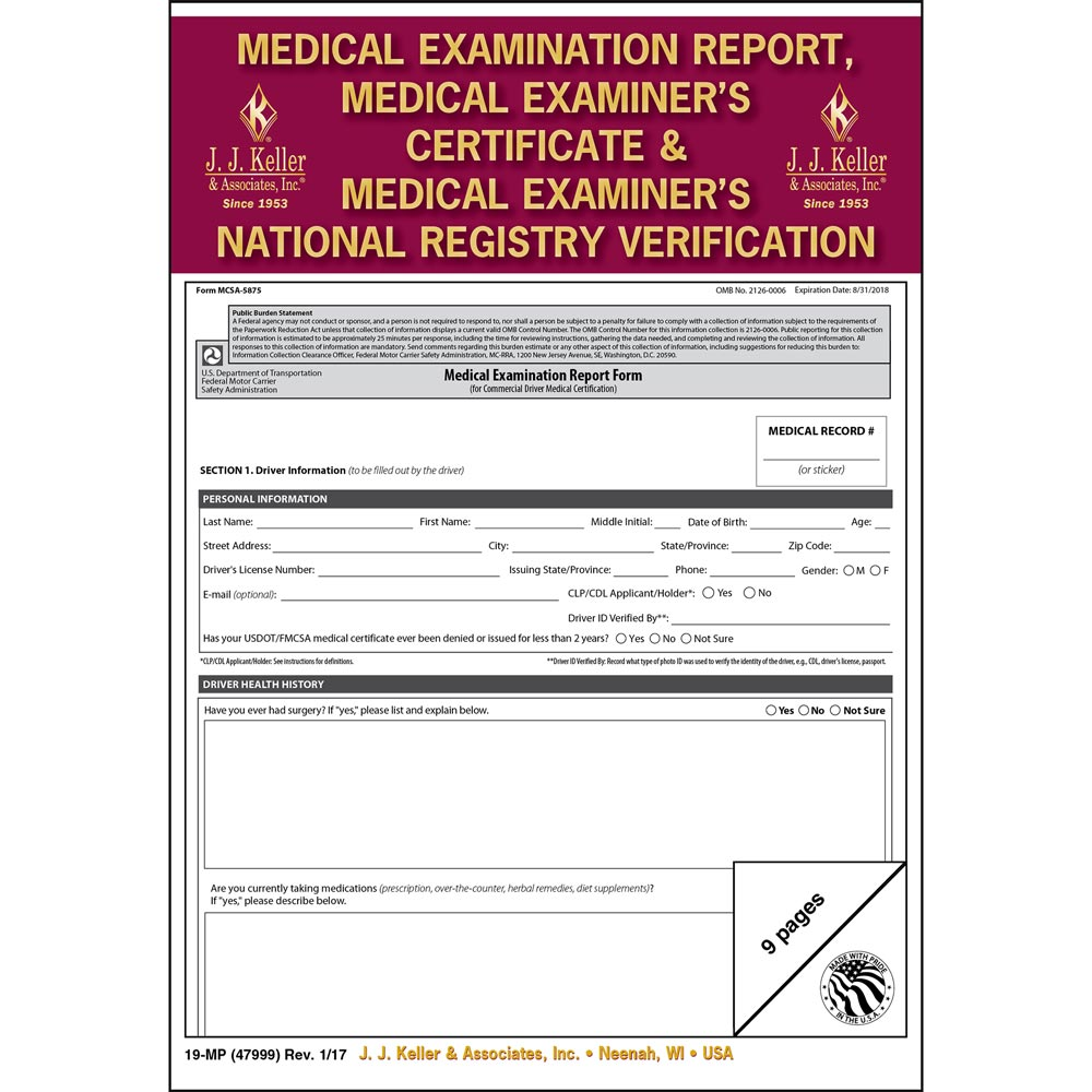 Medical Examination Report, Certificate, & National Registry Verification – Retail Packaging (011643)