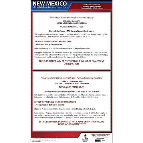 New Mexico / Bernalillo County Minimum Wage Poster (09430)