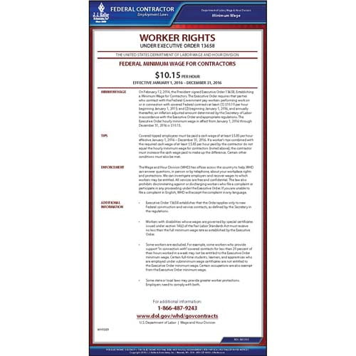 Federal Minimum Wage for Contractors Poster (09395)
