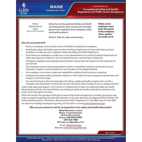 Maine Workplace Safety & Health for Public Employees Poster (04948)