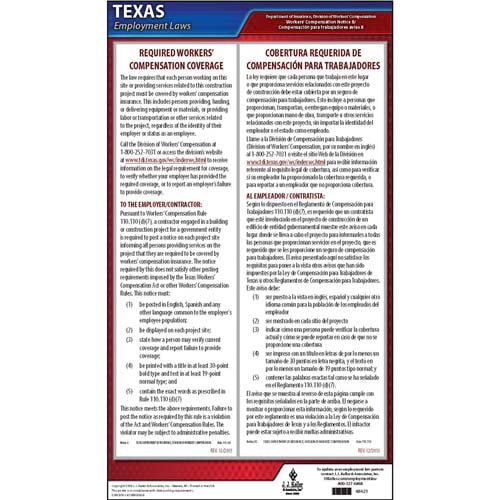 Texas Notice 8 Required Workers' Compensation Coverage Poster (04975)