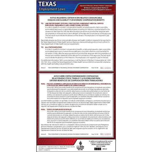 Texas Notice 9 Work-Related Communicable Diseases & Eligibility for Workers' Compensation Benefits Poster (04976)