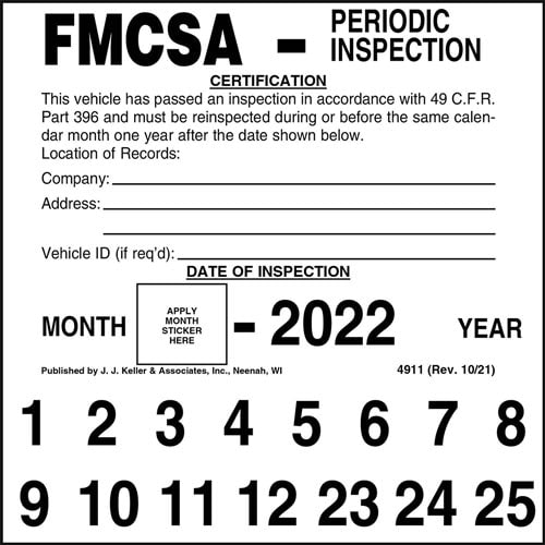 FMCSA Periodic Inspection Label (01800)