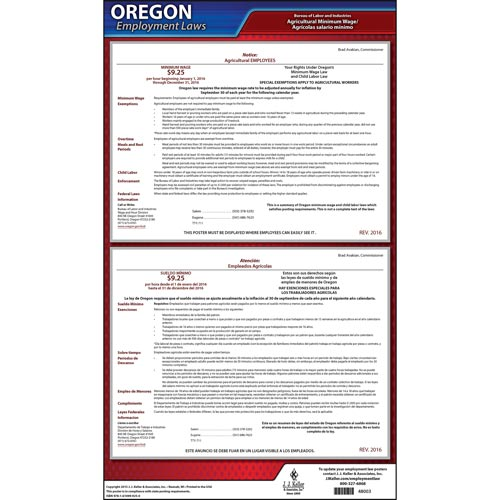 Oregon Notice to Agricultural Employees Poster (05240)