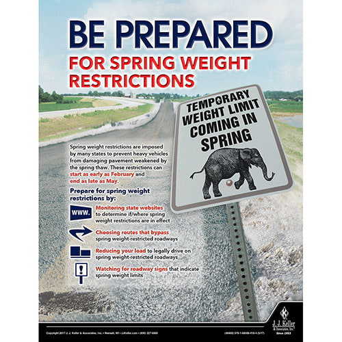 Weight Restrictions - Motor Carrier Safety Poster (010865)