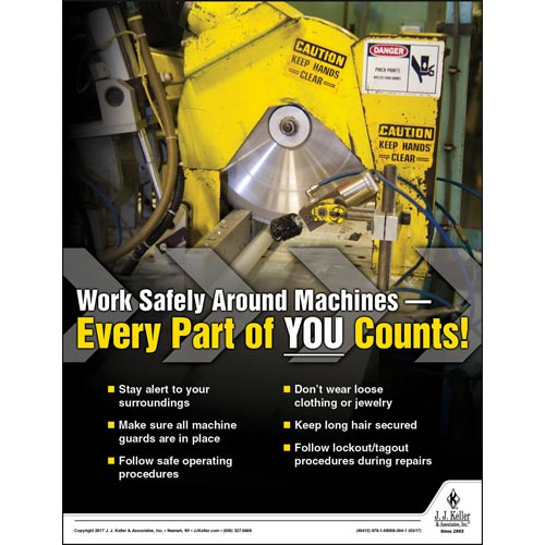 Work Safely Around Machines - Workplace Safety Training Poster (010884)