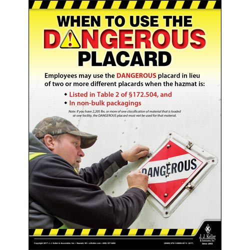 When To Use The Dangerous Placard - Hazmat Transportation Poster (012234)