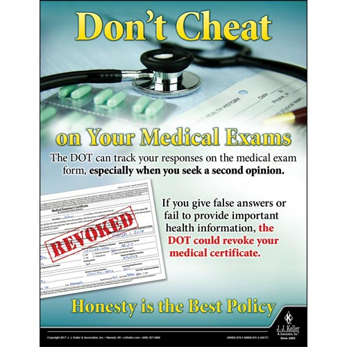 Don't Cheat On Your Medical Exams - Motor Carrier Safety Poster (012314)