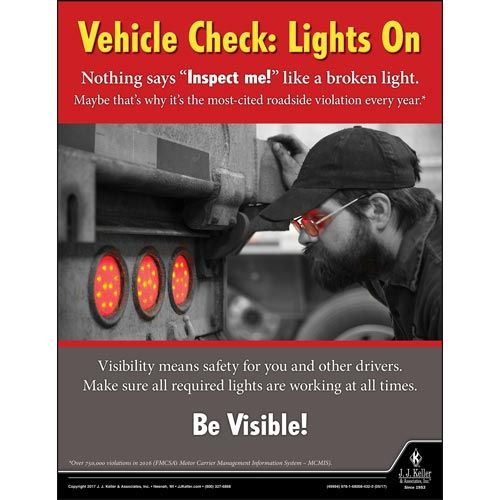 Vehicle Check: Lights On - Motor Carrier Safety Poster (012315)