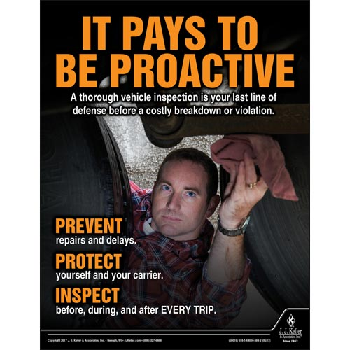 It Pays To Be Proactive - Transportation Safety Poster (012350)