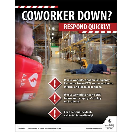 CoWorker Down - Workplace Safety Training Poster (012358)