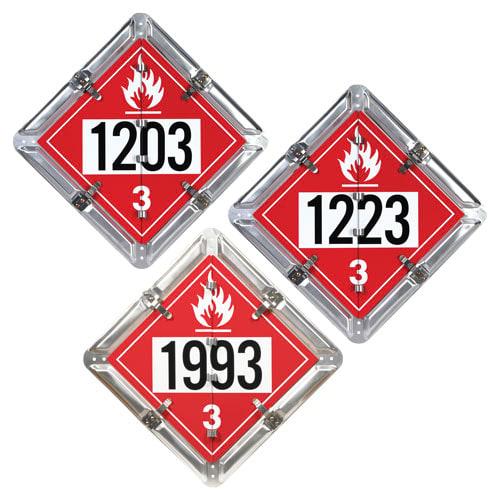 Aluminum Flip Placard - 3 Legend, Numbered, UN 1203, 1993, 1223 (012137)
