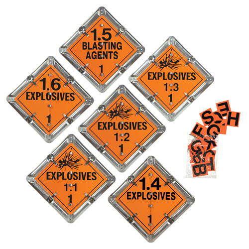 Standard Flip-File Placard, 6-Legend Worded Set, Unpainted Back Plate - Explosive (012150)