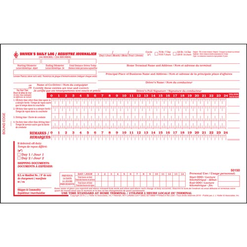 Quebec Driver's Daily Log Book, Bilingual, 2-Ply, w/Carbon, No Recap - Stock (012154)