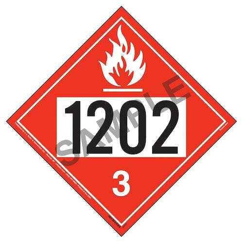 1202 Placard - Class 3 Flammable Liquid (012188)