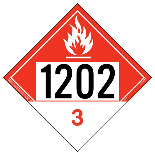 1202 Placard - Class 3 Combustible Liquid (012189)