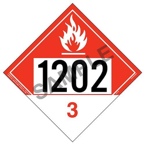 1202 Placard - Class 3 Combustible Liquid (012189)
