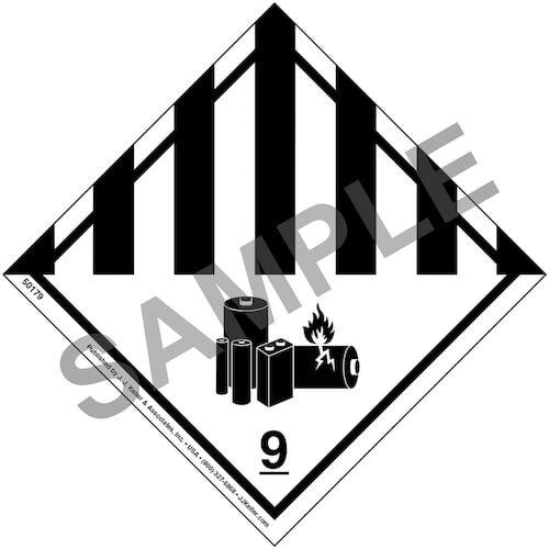 Lithium Battery - Hazardous Materials Labels - Class 9 - Paper, Roll (012215)