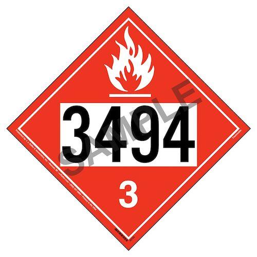 3494 Placard - Class 3 Flammable Liquid (012190)
