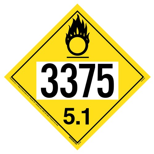 3375 Placard - Division 5.1 Oxidizer (012193)