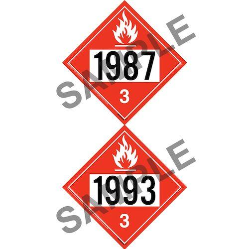 1987/1993 Placard - Class 3 Flammable Liquid (012196)