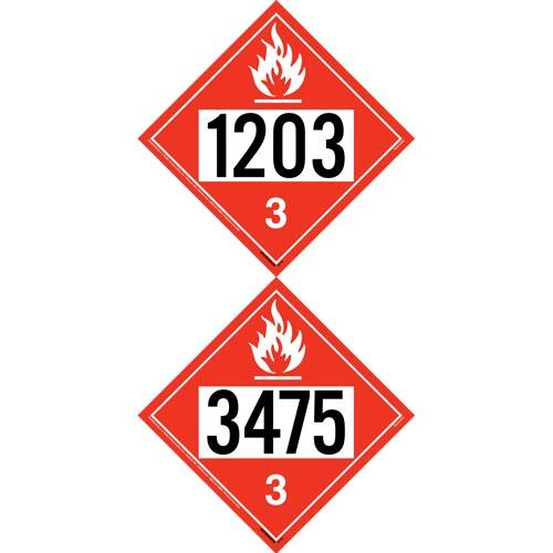1203/3475 Placard - Class 3 Flammable Liquid (012199)