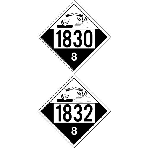 1830/1832 Placard - Class 8 Corrosive (012202)