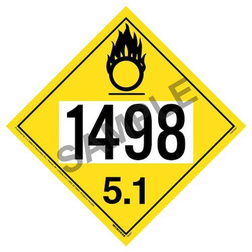 1498 Placard - Division 5.1 Oxidizer (012205)