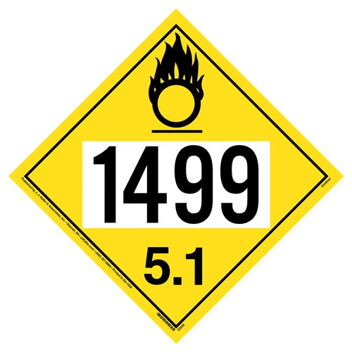 1499 Placard - Division 5.1 Oxidizer (012206)